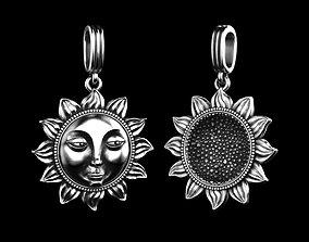 3D print model Sun Face Flower Pendant