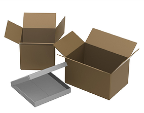 Cardboard boxes containers 3D model
