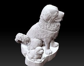3D printable model dogs statue