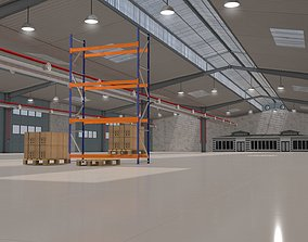 3D model Warehouse with Office and Rack interior