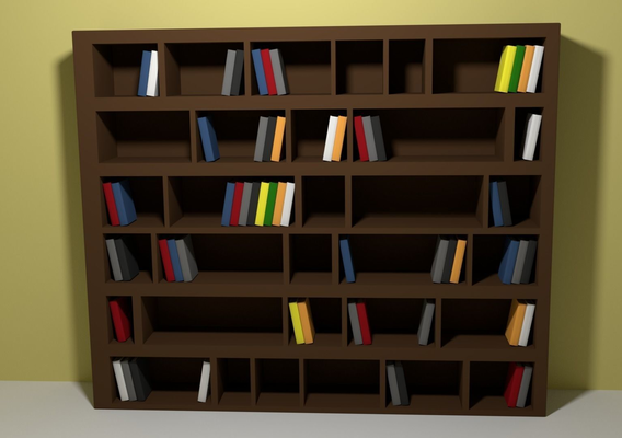Simple bookshelf with books