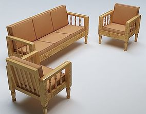 Sofa Set Wooden 3D