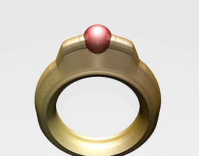 Gold Ring with Round Ruby Setting 3D