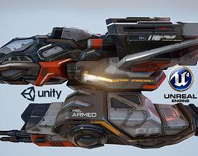 3D asset Corvette Spaceship - game model