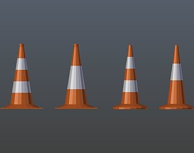 Low poly Traffic Cone Pack 3D model game-ready