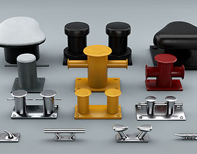 Set of Sea Bollards for ship and yachts and 3D model 1