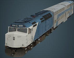 3D model Locomotive And Railcar 1B