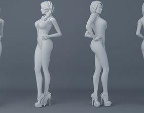 3D printable model Ponytail hair girl wear bikini 001