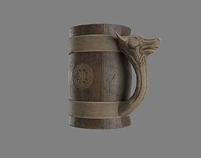 3D asset Wooden Historic Tankard with Wolf