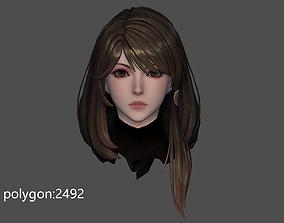 girl hair style 02 3D model