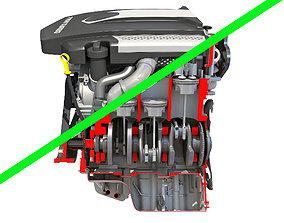 3D V6 Engine Interior and Cutaway