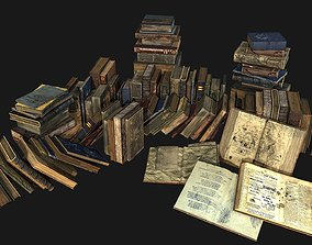 Old Books Collection 3D asset