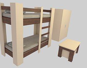 Teen Bunk Bed Group 3D model