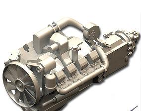 Diesel engine TMZ-8424 with gearbox 3D printable model
