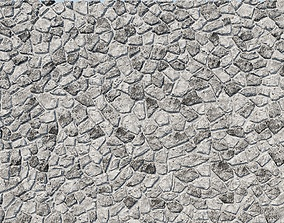 Natural Grey Granite Stone Wall 3D Model