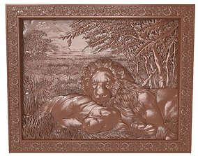 Lions at rest Bas relief for CNC 3D print model