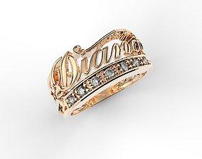 rings 3D print model diana name ring