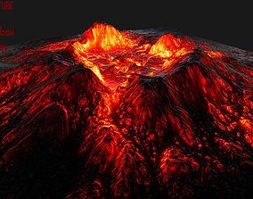 3D asset low-poly Volcano plant