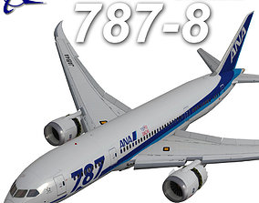 Boeing 787 800 ANA 3D asset animated