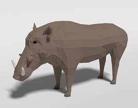 3D model Low Poly Cartoon Warthog