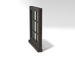 Medieval Window Small Square Glass 3D Model game-ready