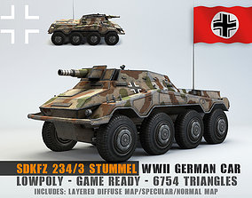 Low Poly SdKfz 234 3 Stummel Armored Car 3D asset