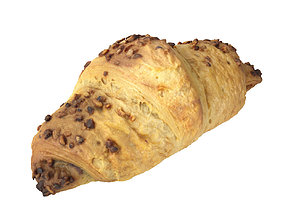 Photorealistic Chocolate Croissant 3D Scan filled