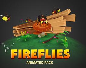 3D asset Fireflies animated pack