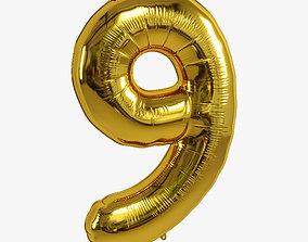 3D model foil balloon gold 9