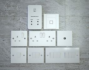 3D asset UK Standard Wall Outlets and Light Switches