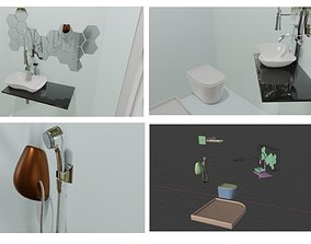 3D modern bath room set