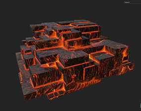 Low poly Lava Temple Block 02 181116 3D model low-poly