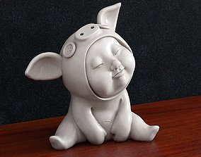 child kid baby pig costume 3d print model
