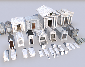 Mausoleums Tombs and Graves pack 1 3D model low-poly