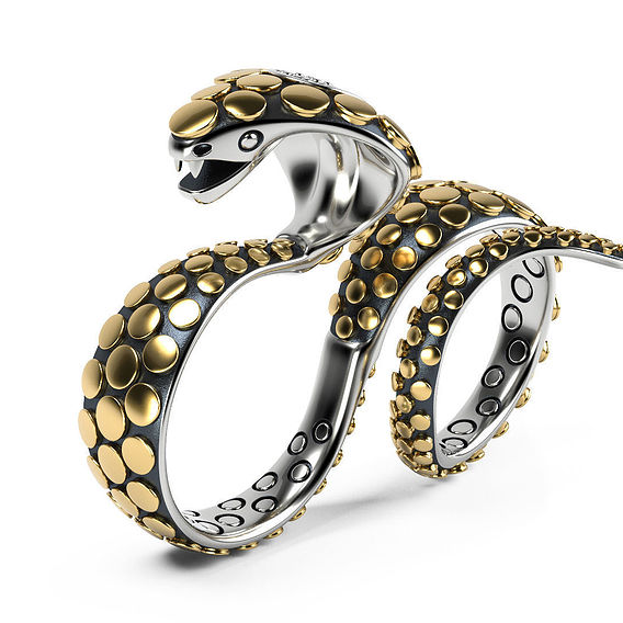Knuckle Snake Ring photorealistic visualization