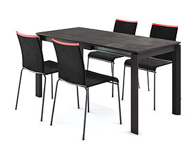 3D model Calligaris Duca table and Web chair