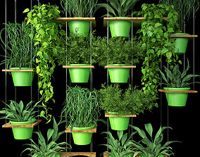 Wall Grid Plants Pot 8 3D