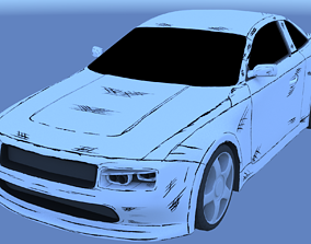 Black and White car 3D asset