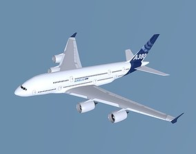 3D asset game-ready Airbus A380 commercial aircraft