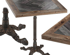 Cast Iron and Wood Restaurant Table Square 3D model