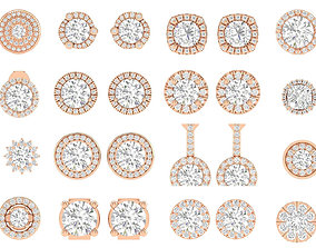 88 Women Round Earrings 3dm stl render detail