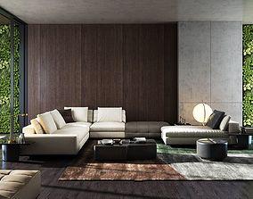 Modern sofa model 3D asset