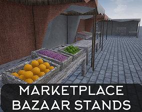 Lowpoly Bazaar-Marketplace Stands 3D asset