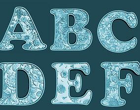 font Floral Alfabet 3D