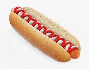 3D model Hot dog with mayonnaise ketchup seeds