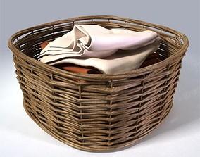 Wicker Laundry Basket 3D