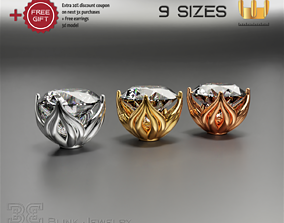 earring head lotus flower shape 3D printable model 4