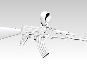 AK 47 gun handgun pendant necklace 3d