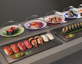 3D model sushi belt Kaitenzushi and dishes Giapan seafood