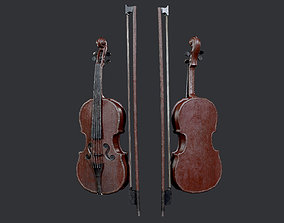 3D asset Violin Instrument Game Ready 03